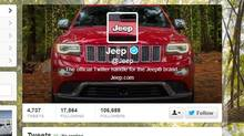 Screen capture from Jeep's Twitter page.