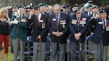 Left to right, Dieppe veterans Fred Engelbretch, 92, Arthur Rossel, 92 of Brampton in Ontario, Roy Wozniak, 93, Russ Burrows, 93 of Picton in Ontario, and David Lloyd Hart, 95 are seen during the commemorations to honor Allied soldiers killed 70 years ago in a failed World War II invasion, in Dieppe, northern France, Sunday Aug. 19, 2012. (Michel Spingler/AP)