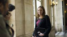 June 19, 2012- Paris, France: Axelle Lemaire, newly elected as Socialist Deputy to Parliament, representative of northern Europe, enters the National Assembly. ( (Albert Facelly/Polaris/Newscom)
