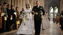 Jared Harris, seen with co-star Claire Foy, plays a startlingly realistic King George VI in Netflix's new drama, The Crown. (Alex Bailey/Netflix)