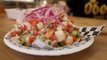 The ceviche taco with shrimp, fish, red onions, salsa and avocado on a yellow corn tortilla at Seven Lives Tacos-Y-Mariscos restaurant in Kensington Market, Toronto, on October 09, 2013. (Deborah Baic/The Globe and Mail)