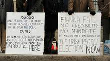 Protestors calling for an immiediate general election demonstrate outside the Irish Prime Ministers office in Dublin on Nov. 26. (BEN STANSALL/Ben Stansall/AFP/Getty Images)