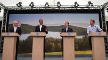 U.S. President Barack Obama (2nd L) attends a news conference with (L-R) European Council President Herman Van Rompuy, European Commission President Jose Manuel Barroso and Britain's Prime Minister David Cameron at the G8 summit in Enniskillen, Northern Ireland June 17, 2013. (ANDREW WINNING/REUTERS)