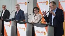 NDP leadership candidates Guy Caron, left, Charlie Angus, Niki Ashton and Peter Julian participate in a debate in Montreal on March 26, 2017. (Graham Hughes/The Canadian Press)