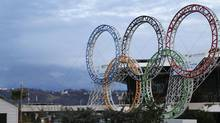 A photo from last February show the Olympic rings in front of the airport in Sochi, Russia, the host city for the 2014 Winter Games. (KAI PFAFFENBACH/REUTERS)