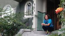 Signy Wilson on the front steps of her home. (Kerry Gold for the Globe and Mail)