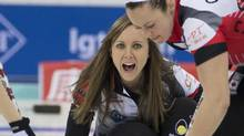 Canada's Rachel Homan reacts after releasing a stone against Switzerland during the CPT World Women's Curling Championship 2017 held in Beijing's Capital Gymnasium, Monday, March 20, 2017. (Ng Han Guan/AP)