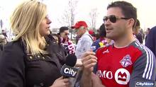 CityNews reporter Shauna Hunt turned the camera on Toronto FC fans after they heckled her with an infamous vulgar phrase. (CityNews/CityNews)