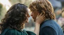 Outlander, starring Caitriona Balfe, left, and Sam Heughan, returns for its second season Sunday on Showcase. (Neil Davidson/Starz/Courtesy of Sony Pictures Television)