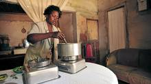 A woman in Mozambique uses an ethanol cookstove supplied by the Novozymes corporation to replace harmful, charcoal-based indoor stoves – and, not coincidentally, to expand its future markets for the ethanol it produces. (Jeffrey Barbee/Jeffrey Barbee)