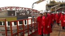 B.C. Premier Christy Clark tours the Jiangsu LNG Terminal, where industry and the province of British Columbia hope Canadian natural gas might one day be imported from ships. (Handout)