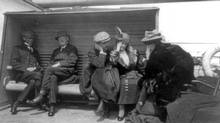 Mrs. G.A. Harder and Mrs. Charles M. Hayes, survivors of the Titanic disaster, talking aboard the Carpathia after being rescued, April 1912. The Titanic was considered unsinkable but foundered in frigid Atlantic waters off Newfoundland after striking an iceberg. About 700 passengers survived in lifeboats, but some 1,500 perished in the sinking. (Reuters/Reuters)