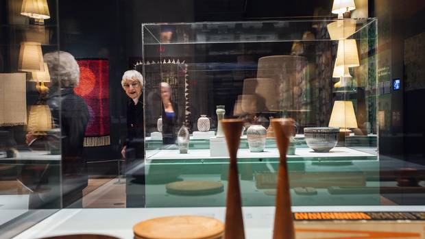 Esme Gotz and Lorraine Levinson admire Canadian studio pottery at the True Nordic exhibition at the Gardiner Museum in Toronto on October 24, 2016.