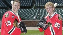 Chicago Blackhawks Patrick Kane and Jonathan Toews at Wrigley field. Getty Images