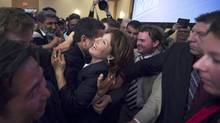 BC Liberal Leader Christy Clark was elated as she won the BC provincial election in 2013. (John Lehmann/The Globe and Mail)