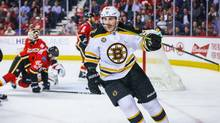 Boston Bruins left wing Brad Marchand celebrates his goal against the Calgary Flames during the second period at Scotiabank Saddledome. (Sergei Belski/USA Today Sports)