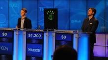 IBM's Watson computer competes against Jeopardy!'s two most successful contestants – Ken Jennings and Brad Rutter – in a practice match in January, 2011. (IBM)