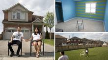 Clockwise from left: Vicky, left, and Sandhya Bhardwaj outside their Mississauga, Ont., home; the bedroom for their coming baby; the backyard of their house. (Matthew Sherwood for The Globe and Mail)
