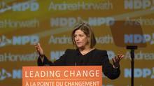 Ontario NDP Leader Andrea Horwath speaks at the Ontario NDP convention at the Hamilton Convention Centre in Hamilton, Ontario, Saturday, April 14, 2012. (SHERYL NADLER/THE CANADIAN PRESS/SHERYL NADLER/THE CANADIAN PRESS)