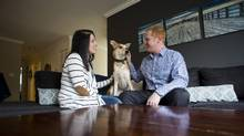 Jack and Megan Bernard of Vancouver have earmarked $10,000 to care for their dog, Willis, should they predecease him. (Ben Nelms for The Globe and Mail)