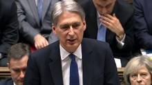 A video grab from footage broadcast by the U.K. Parliament's Parliamentary Recording Unit (PRU) shows British Chancellor of the Exchequer Philip Hammond as he delivers his Autumn Statement to the House of Commons in London on Nov. 23, 2016. (HO/AFP/Getty Images)