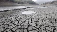 This Feb. 7, 2014, file photo shows the cracked-dry bed of the Almaden Reservoir in San Jose, Calif. Global warming is rapidly turning America the beautiful into America the stormy, sneezy and dangerous, according to a federal scientific report. (Marcio Jose Sanchez/Associated Press)