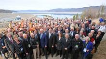 Eight years ago, Green Party Leader Andrew Weaver was a climate scientist who championed the Site C project. He is seen at its announcement event in 2010, four rows behind former premier Gordon Campbell. (BC Hydro/Globe and Mail Update)