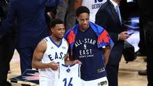 Kyle Lowry and DeMar DeRozan will represent the Eastern Conference at the NBA All-Star game for the third consecutive year. (Vaughn Ridley/Getty Images)
