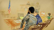This sketch, reviewed by a U.S. Department of Defense official, shows Canadian detainee Omar Khadr attending jury selection at his war crimes trial Aug. 11, 2010, at the the U.S. naval base in Guantanamo, Cuba. (JANET HAMLIN/AFP/Getty Images)
