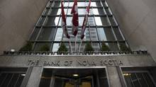 The King St. West entrance to the Bank of Nova Scotia on Jan. 12. (Fred Lum/The Globe and Mail)