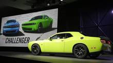 The 2015 Dodge Challenger is introduced at the New York International Auto Show in New York, Thursday, April 17, 2014. (Seth Wenig/AP Photo)