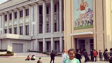 A photo of Jen Loong from her Instagram account showing her in Pyongyang North Korea where she ran the Pyongyang Marathon.