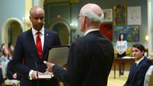 Ahmed Hussen is sworn in as Minister of Immigration, Refugees and Citizenship during a cabinet shuffle at Rideau Hall in Ottawa on Tuesday, Jan 10, 2017. (Sean Kilpatrick/THE CANADIAN PRESS)