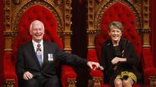 Governor General David Johnston and his wife Sharon sit on the throne after being sworn in as the 28th Governor General in the Senate on Parliament Hill, Friday, Oct. 1, 2010, in Ottawa. (Adrian Wyld/Adrian Wyld/The Canadian Press)