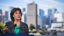 B.C. Premier Christy Clark announces the end of self-regulation in the real estate sector during a news conference in Vancouver on June 29, 2016. (John Lehmann/The Globe and Mail)