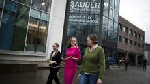 From right to left Liz Firer-Gillespie, Eve Hart and Emily Graham are photographed outside the UBC SauderSchoolofBusinessin Vancouver , British Columbia, Wednesday, March 13, 2013. (Rafal Gerszak/The Globe and Mail)