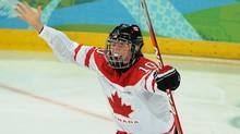 Canada's Gillian Apps celebrates her goal against Sweden during second period women's Olympic ice hockey action at UBC Thunderbird Arena in Vancouver, Wednesday February 17, 2010 (The Canadian Press)