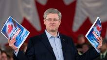Conservative Leader Stephen Harper unveils the party platform during a campaign event in Mississauga, Ont., on Friday, April 8, 2011. (Sean Kilpatrick/The Canadian Press)