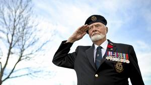 WWII Vet Andrew Bogle who is now 86 years old and lives in Calgary, AB. Born in Scotland he arrived in Canada with his parents in 1927. He enlisted with the Navy in Winnipeg in February 1943 and served 32 months on the H.M.C.S.Nene, a British Frigate with Canadian Crew. He was photographed in Calgary on Friday, November 05, 2010.