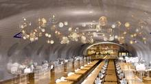 This computer image provided in March 2014 by Laisne Architectes shows an abandoned Paris subway station turned into a restaurant, part of conservative candidate for Paris Mayor Nathalie Kosciusko-Morizet's, known as NKM, plan to reimagine the city. (AP)