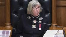 British Columbia's Lieutenant Governor Judith Guichon delivers the throne speech in the B.C. legislature in Victoria on Feb. 9, 2016. (JONATHAN HAYWARD/THE CANADIAN PRESS)