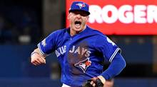 Josh Donaldson reacts after making a play during the fifth inning against the Cleveland Indians in Game 4 of the ALCS. (Nick Turchiaro/USA Today Sports)