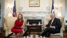 Secretary of State Rex Tillerson meets with Canadian Foreign Affairs Minister Chrystia Freeland, Wednesday, Feb. 8, 2017, at the State Department in Washington. (Andrew Harnik/Associated Press)
