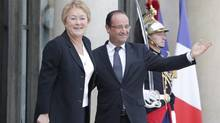 Quebec Premier Pauline Marois, left, is accompanied by French President Francois Hollande after their meeting at the Elysee Palace in Paris, Monday, Oct. 15, 2012. (Francois Mori/AP)