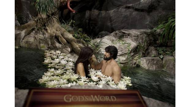 An Adam and Eve depiction at the Creation Museum in Petersburg, KY Oct 13, 2012. The facility presents an account of the origins of the universe, life, mankind according to the Book of Genesis in the bible. (Moe Doiron/The Globe and Mail)