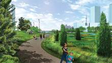 MVVA River Park South summer- view west towards Cherry Street. Handout / Waterfront Toronto