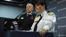 Toronto police Chief Bill Blair (left) and Staff Inspector Mary Lee Metcalfe, Commander of the Sex Crimes Unit, are photographed during a press conference on Oct 22 2012. Police announced an arrest in sex assault cases in the Bloor St. West and Christie St. neighbourhood of Toronto. (Fred Lum/The Globe and Mail)