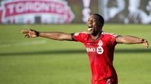 Toronto FC defender Doneil Henry reacts at game end after scoring the game winning goal against the Columbus Crew during second half MLS soccer action in Toronto on Saturday May 31, 2014. (Nathan Denette/THE CANADIAN PRESS)