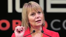 This February 16, 2011 file photo shows former CEO of Yahoo, Carol Bartz, speaking at the Mobile World Congress in Barcelona. (JOSEP LAGO/AFP/Getty Images)