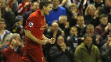 Liverpool's Steven Gerrard celebrates after scoring (PHIL NOBLE/REUTERS)